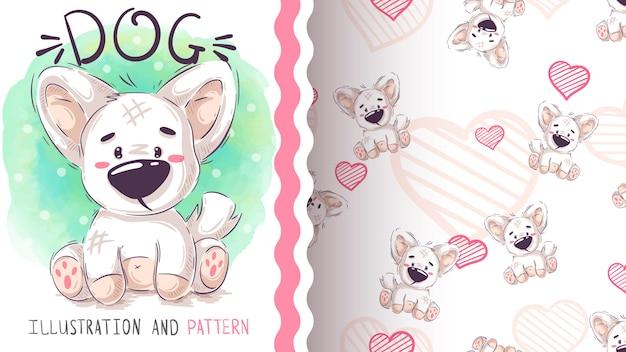 Cão de pelúcia fofo - padrão sem emenda