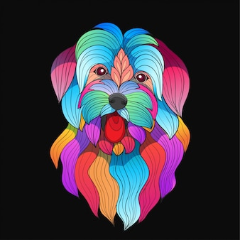 Cão de raça maltês colorido estilizado vector