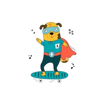 Cão de super-herói desenhado à mão em uma fantasia de quadrinhos. filhote de cachorro bonito em um skate.