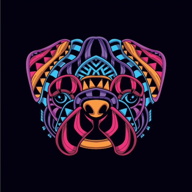 Cão decorativo abstrato na cor neon de brilho