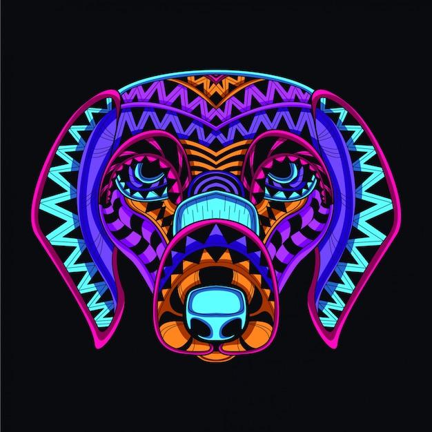 Cão decorativo na cor neon de brilho