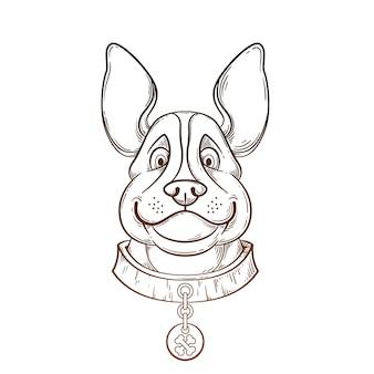 Cão desenhado mão