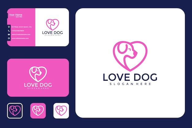 Cão do amor com design de logotipo de linha e estilo de cartão de visita