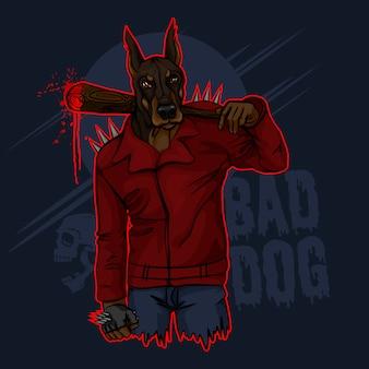 Cão doberman mau