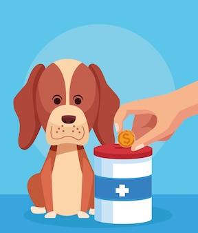 Cão dos desenhos animados com lata de doação e mão com moedas de dinheiro sobre azul