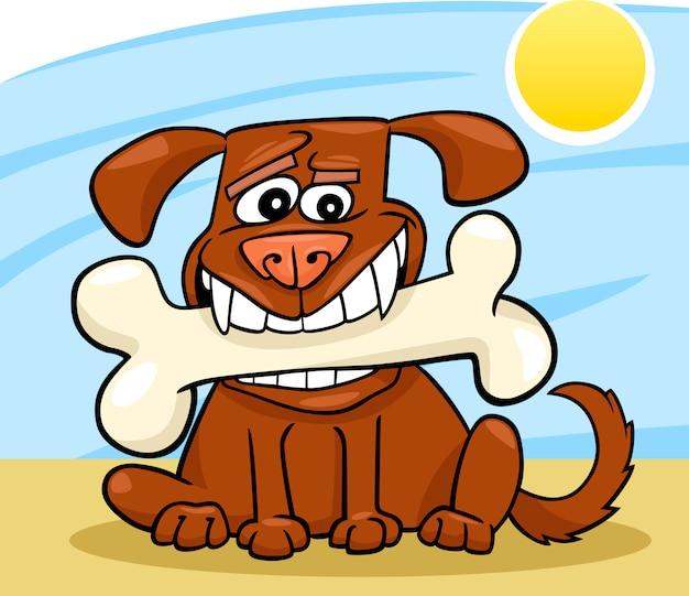 Cão dos desenhos animados com osso grande