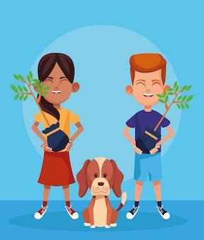 Cão dos desenhos animados e menina e menino com plantas, design colorido