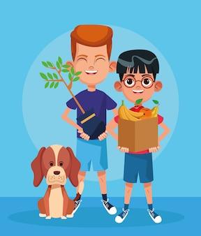 Cão dos desenhos animados e meninos com planta e caixa com frutas, design colorido