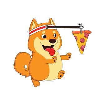 Cão dos desenhos animados está correndo atrás de pizza
