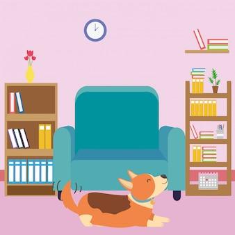 Cão dos desenhos animados na sala de estudo