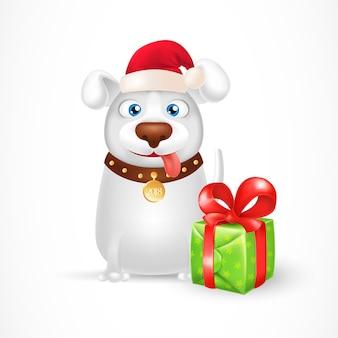 Cão dos desenhos animados no chapéu do papai noel com caixa de presente
