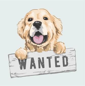 Cão dos desenhos animados, segurando a ilustração de sinal procurado