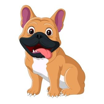 Cão dos desenhos animados, sentado com a língua de fora