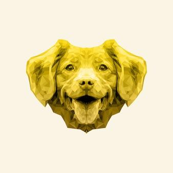 Cão dourado bonito da arte do baixo poli