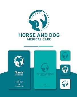 Cão e cavalo quiropraxia design de logotipo clínica de cuidados