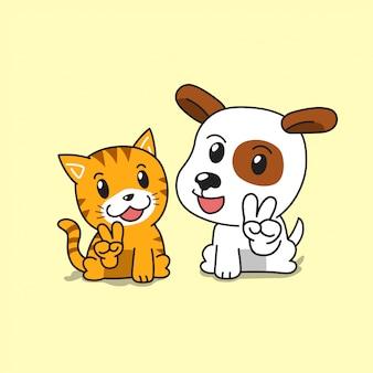 Cão e gato bonito de personagem de desenho animado