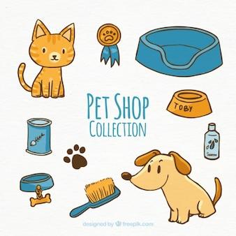 Cão e gato com vários acessórios
