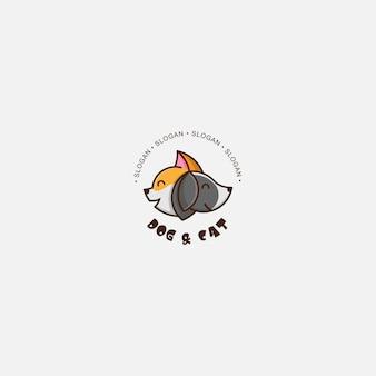 Cão e gato de logotipo de ícone