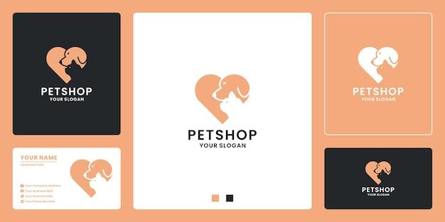 Cão e gato design de logotipo de loja de animais de estimação amam o animal. cuidado animal