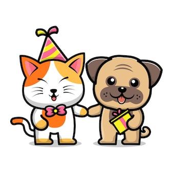 Cão e gato fofos na ilustração dos desenhos animados da festa de aniversário