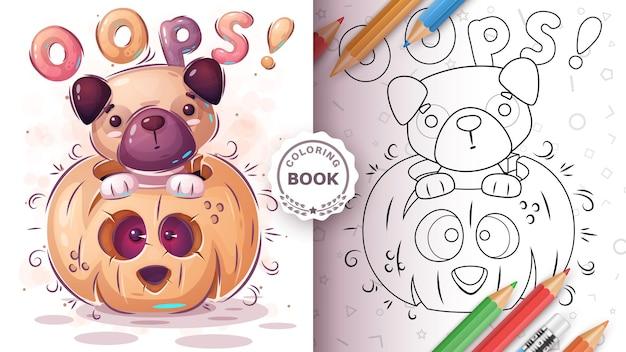 Cão em livro de colorir pampkin para crianças e crianças vecor eps