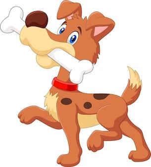Cão engraçado dos desenhos animados com osso isolado no fundo branco