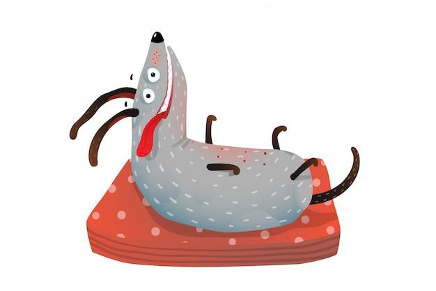 Cão engraçado no travesseiro