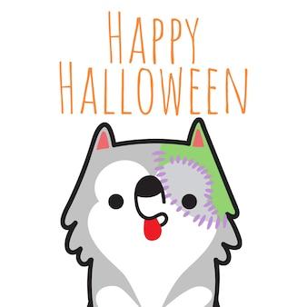 Cão feliz de halloween no dia das bruxas trajado.
