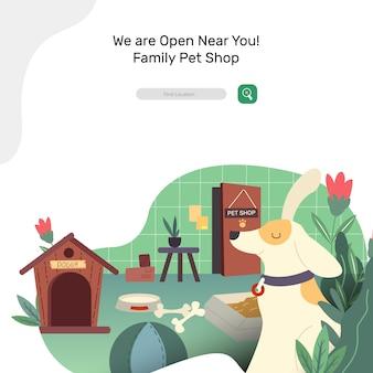 Cão fofo brincando no Pet Shop