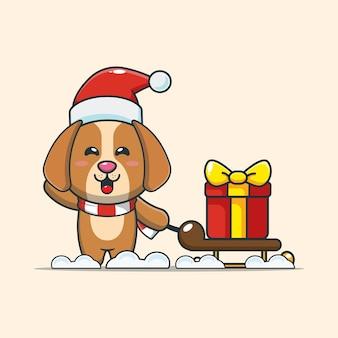 Cão fofo carregando caixa de presente de natal ilustração fofa dos desenhos animados de natal