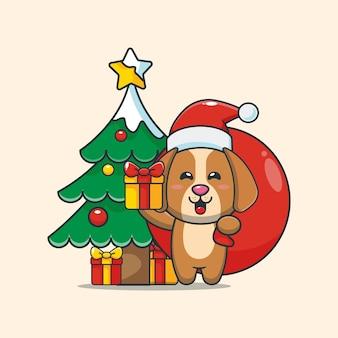 Cão fofo carregando um presente de natal ilustração fofa dos desenhos animados de natal