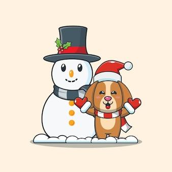 Cão fofo com boneco de neve ilustração fofa dos desenhos animados de natal