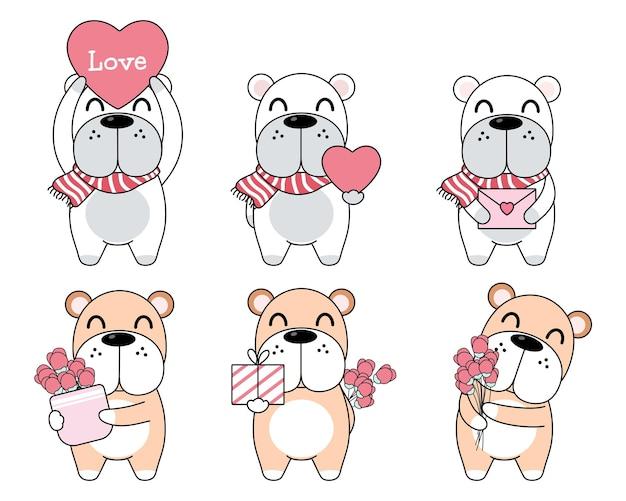 Cão fofo com caixa de presente, carta, coração e rosa.