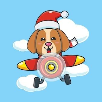 Cão fofo com chapéu de papai noel voar com avião ilustração fofa dos desenhos animados de natal