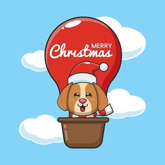 Cão fofo em balão de ar ilustração fofa dos desenhos animados de natal