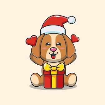 Cão fofo feliz com presente de natal ilustração fofa dos desenhos animados de natal