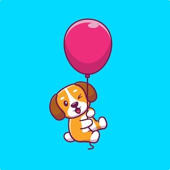 Cão fofo flutuando com balão