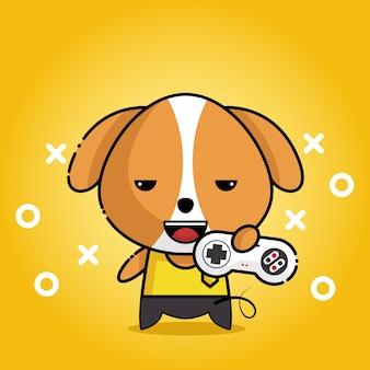 Cão fofo kawaii com jogo de pau na mão