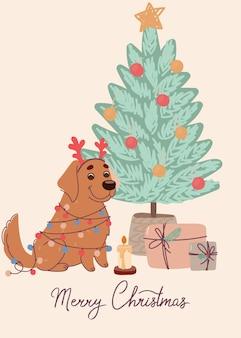 Cão fofo labrador no cartão de natal
