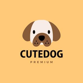 Cão fofo logotipo plana icon ilustração