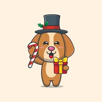Cão fofo segurando doces e presentes de natal ilustração fofa dos desenhos animados de natal