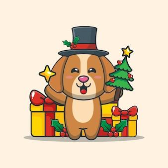 Cão fofo segurando estrela e árvore de natal ilustração fofa dos desenhos animados de natal