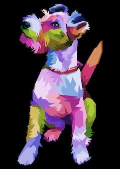 Cão fox terrier colorido no estilo pop art. ilustração.