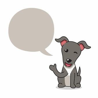 Cão galgo de personagem de desenho animado com balão para design.