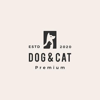 Cão gato animal de estimação hipster logotipo vintage icon ilustração