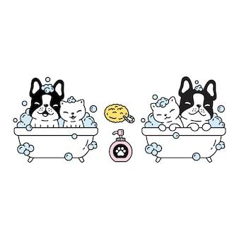 Cão, gato, bulldog francês, banho, desenho, banho