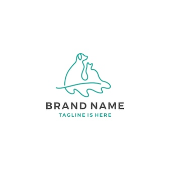 Cão gato carvalho folha logotipo ilustração vetorial linha arte esboço