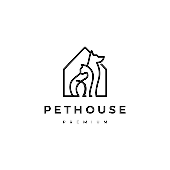Cão gato pet casa casa logo vector linha arte contorno
