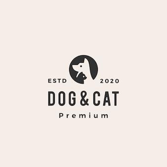 Cão gato pet logotipo vintage