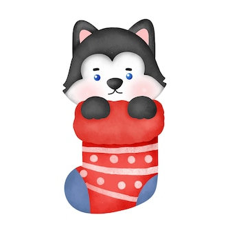 Cão husky aquarela bonito dos desenhos animados para cartão de natal.